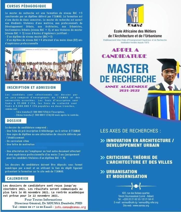 Appel à candidature Master Recherche Architecture et Développement Urbain année académique 2021-2022